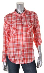 C&C California Back Tag Adjustable Sleeves Linen Nice Metal Buttons Button Down Shirt Poppy Red Plaid