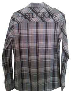 Affliction Embroidered Cross Button Down Shirt Grey & Teal Plaid
