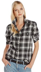 Paige Denim Plaid 100% Cotton Button Down Shirt Black and White