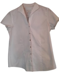 Coldwater Creek Short Sleeve Button Up Great For Layering Button Down Shirt White