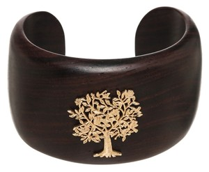 Emily West Emily and Ashley Brown and 18k Gold Tree Wooden Cuff Bracelet