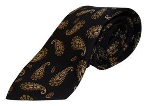 Chanel CHANEL black silk necktie / cravotte with gold paisley pattern