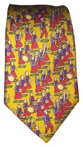 Chanel CHANEL yellow silk necktie / cravotte with traditional costumed musicians