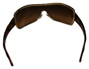 Chanel CHANEL brown wrap around sunglasses w/gold & tortoise shell arms