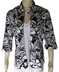 Coldwater Creek Easter Floral Black White Blazer