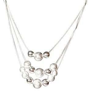 Sterling Silver Ball Pendant Three Strand Necklace N361