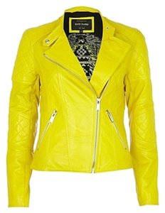 River Island Brand New Real Leather Yellow Leather Jacket