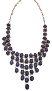 Other Statement Bib Necklace Blue & Matching Earrings