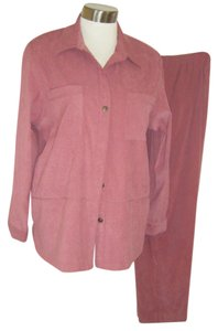 Alfred Dunner PANTSUIT 16 ALFRED DUNNER PEACHSKIN STRETCH FAUX SUEDE CAREER MAUVE REPTILE