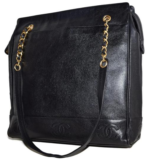 Chanel Leather Cc Logo Chain Gold Shoulder Bag
