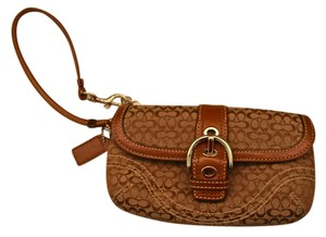 Coach Brown Fabric Leather Trim Wristlet in Brown/Khaki