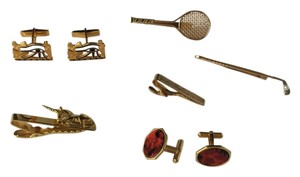14K GOLD FILLED SET OF 4 TIE CLIPS 2 CUFF LINKS GOLF TENNIS STONE ETC.
