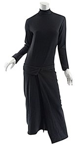 Black Maxi Dress by Yohji Yamamoto Wool Knit Turtleneck Asymetric