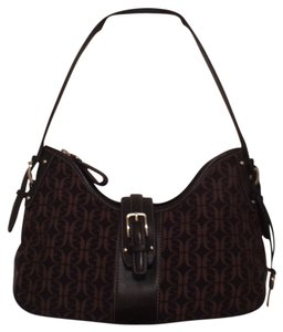 Fossil Canvas Leather Hobo Bag