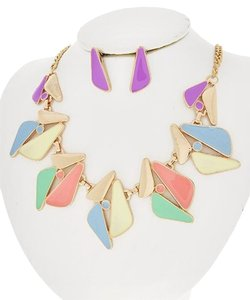 ENVME Gold Tone / Multi Color Epoxy /Necklace & Post Earring Set