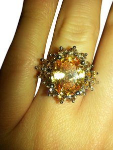 9.2.5 Gorgeous huge Morganite flower cocktail ring size 8