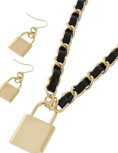 DaVinci Gold Tone Metal / Black Leatherette Necklace & Fish Hook Earring Set