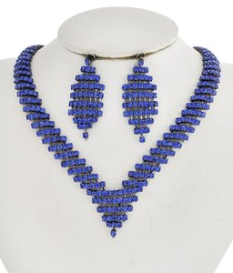ICE Hematite Tone / Blue Rhinestone / Lead&nickel Compliant / Necklace & Post Earring Set