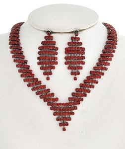 ICE Hematite Tone / Red Rhinestone / Lead&nickel Compliant / Necklace & Post Earring Set