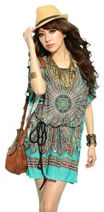 Other short dress Green Turquoise Bohemian Paisley Beach Boho on Tradesy