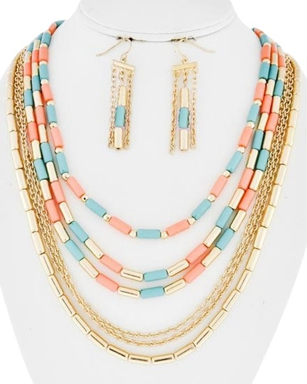 Preload https://item1.tradesy.com/images/multi-color-gold-tone-peach-and-dark-mint-acrylic-lead-compliant-row-and-fish-hook-earring-set-neckl-1312385-0-0.jpg?width=440&height=440