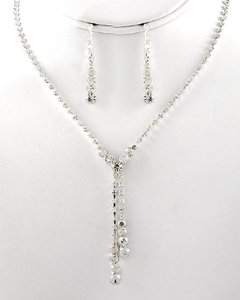 Ice Silvertone / Clear Rhinestones Necklace & Post Earring Set
