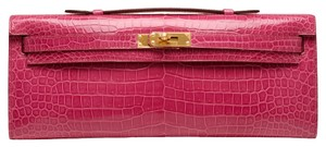 Herms Crocodile Pink Clutch