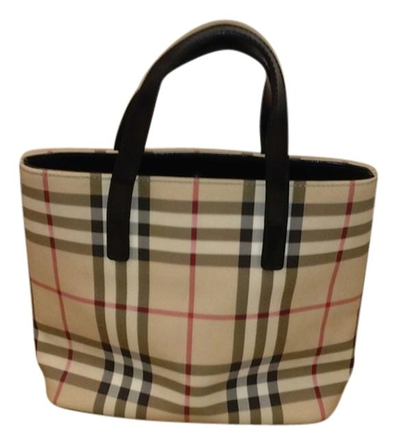 Item - Small Canter Horseferry Check Tan/Black Leather Handles Lined with Cotton Baguette