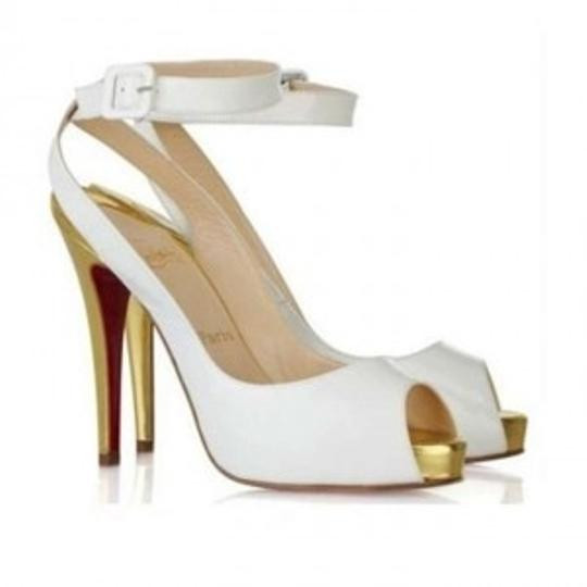 Preload https://item3.tradesy.com/images/christian-louboutin-white-the-privitita-never-worn-patent-leather-peep-toe-gold-heel-pumps-size-us-9-131247-0-0.jpg?width=440&height=440