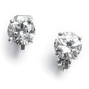 Mariell Clip-on Earrings With 8mm Cz Solitaire 2002ec