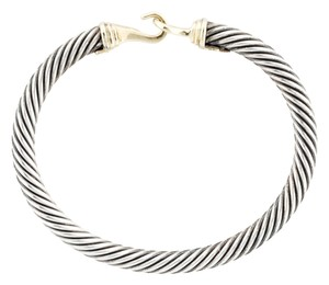 David Yurman Sterling silver David Yurman Cable Buckle gold hook bracelet