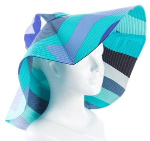 958876322da Emilio Pucci Blue multicolor Emilio Pucci wide brim abstract print cotton  summer hat New