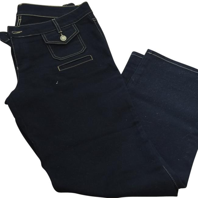 Item - Black with Yellow Tread Dark Rinse Relaxed Fit Jeans Size 33 (10, M)