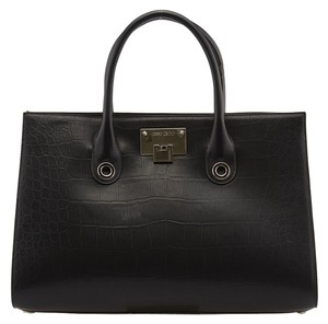 Jimmy Choo Riley Croc Leather Tote in Black
