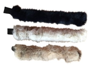 3 FABULOUS FOX FUR HEADBANDS - GOLDEN, OFF-WHITE, & DARK BLUE