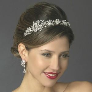 Elegance By Carbonneau Crystal And White Pearl Side Accent Bridal Headband