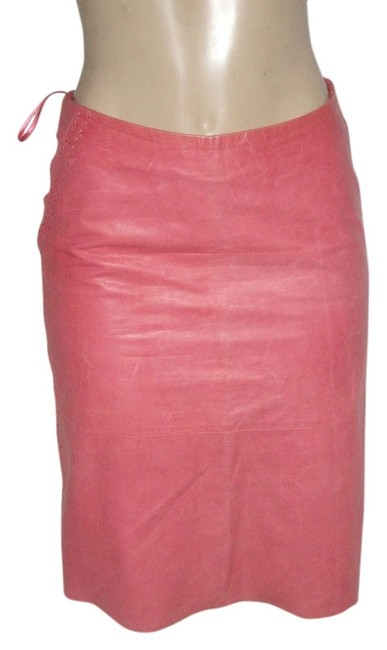 Item - Strawberry Milkshake Rose Whipstiching Detail Fully Lined A _line Leather Skirt Size 4 (S, 27)