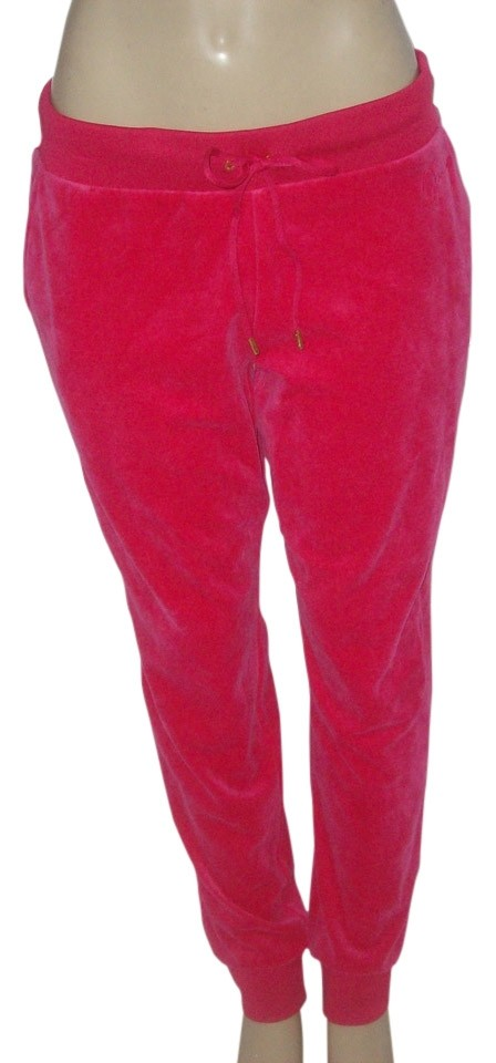 Juicy Couture Pink L Hot Velour Ankle Banded Pockets Drawstring Lounge Pants Size 12 L 32 33 Tradesy