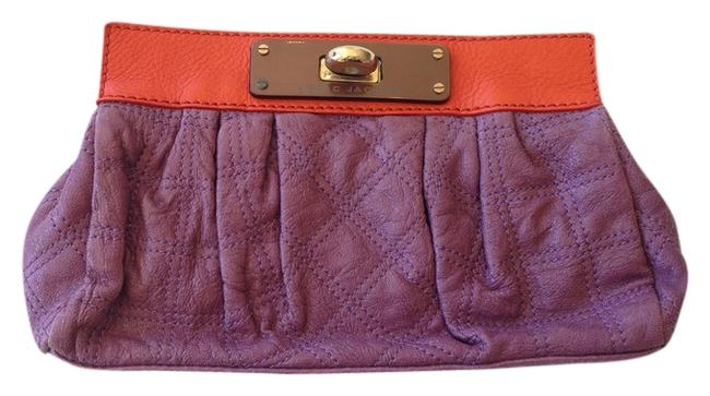 Item - Cinched Purple Lavender and Orange Leather Clutch