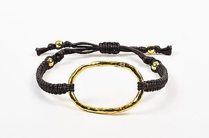 Tai Tai Brown Gold Plated Crystal Hammered Ring Cord Bracelet