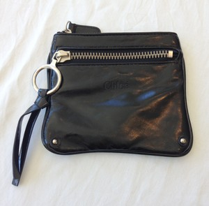 Chloé Chloe Black Leather Small Zipper Pouch