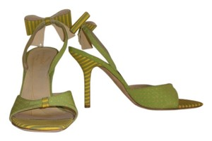 Kate Spade Colorful Polka Dot Green w/ Yellow dots and Stripes Sandals