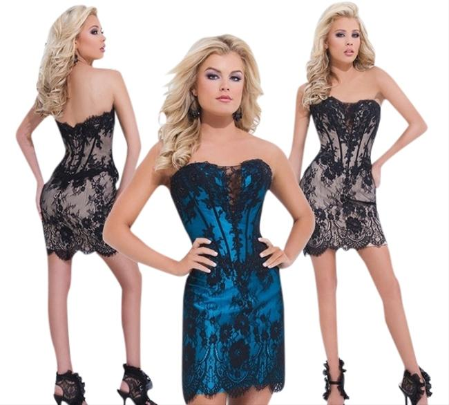 Tony Bowls Short Bustier Pageant Miss Embroidered Dress