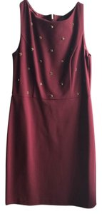 Ann Taylor Work Beading Crimson Sheath Dress
