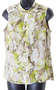 Jones New York Size Medium Sleeveless Ruffle Top Multi-Color