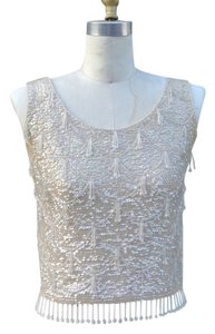 British Crown Colony Vintage Beaded Sequin Blouse Wool Silk Thrifted Top Cream