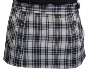 Guess Stretch Mini Skirt Grey Blue and Black Plaid