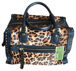 orYANY Satchel in Black with Leapard Print
