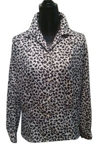Oscar de la Renta Vintage Leopard Top Black and Beige