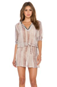 RAGA short dress Brown, white, ivory, tan Beaded Drawstring Adjustable Swimsuit Coverup on Tradesy